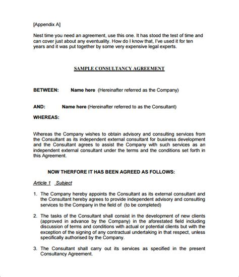 printable sample consulting agreement contract