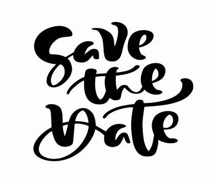 Save Date Calligraphy Text Vector Hand Lettering