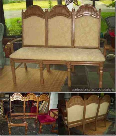 Bench Chair by Diy Repurposed Chair Bench Do It Yourself Ideas