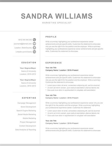 Classic Resume Template 120570 (color: grey) MS Word | Resumeway
