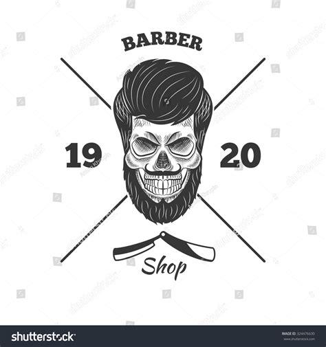 the gentleman pirate razors skull beard logo beard shop stock vector 324476630