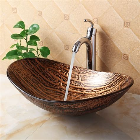 1211 tempered glass vessel sink hot melt multicolor