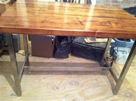 kitchen island legs metal square table with butcher block top and silver metal legs 5094