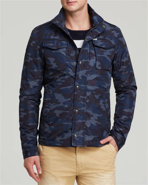 snap button shirt lyst scotch soda camo jacket in blue