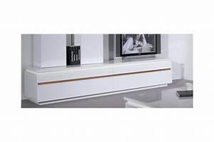 Meuble Bas Blanc Laqué : meuble tv design blanc laqu 2 portes cbc meubles ~ Edinachiropracticcenter.com Idées de Décoration
