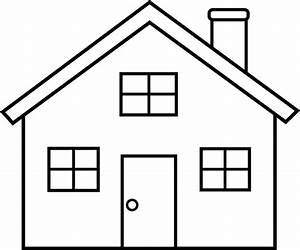 House outline clipart black and white free - Clipartix