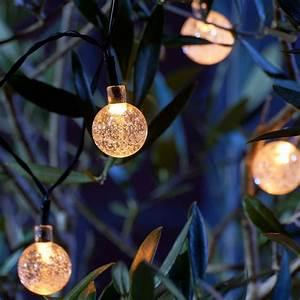 Set Of 20 Crystal Ball Led Solar String Lights