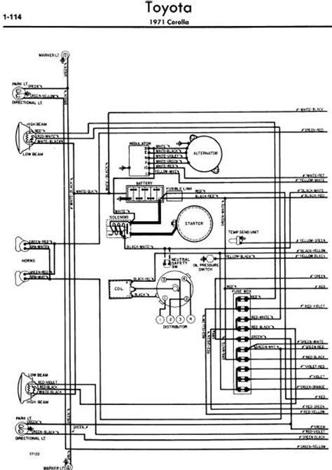 repair manuals toyota corolla 1971 wiring diagrams