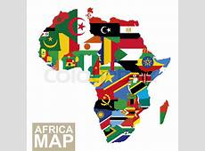 Africa map Vector map of Africa with flags African