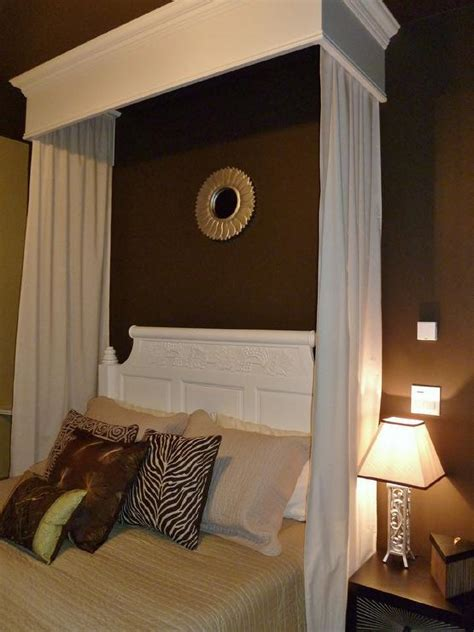 brown bedroom  white canopy