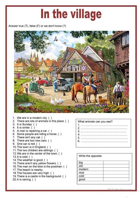 picture description   village worksheet  esl