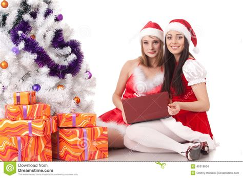 christmas gifts for wives and girlfriends girlfriends with laptop stock photo image 49318604