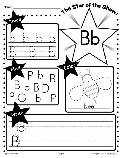 free letter b worksheet tracing coloring writing more
