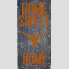 "Texas Longhorns Wood Sign  Home Sweet Home 6""x12"