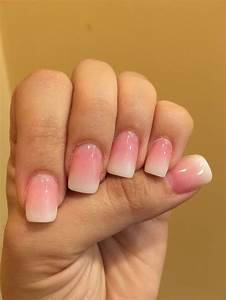 Nail Designs Dip Powder These Are Pink And White Ombré Nails White Tip With White
