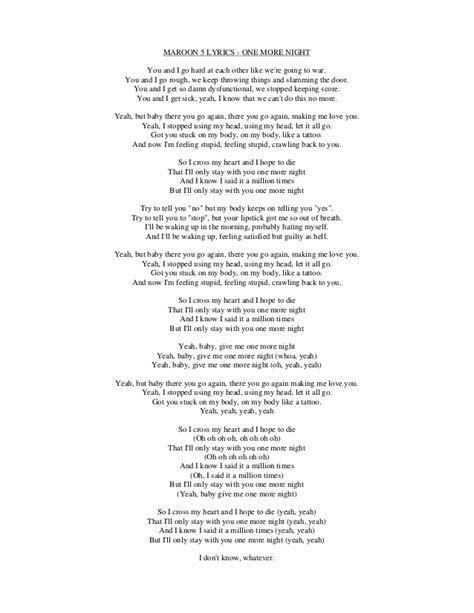 maroon 5 you and i go hard lyrics lyrics