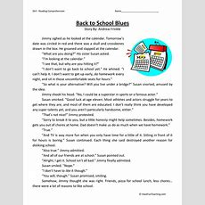 Back To School Blues  Reading Comprehension Worksheet  Have Fun Teaching