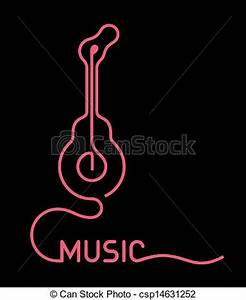 Clipart Vector of Guitar Neon Sign vector illustration Guitar symbol with csp Search Clip Art Illustration Drawings and Vector