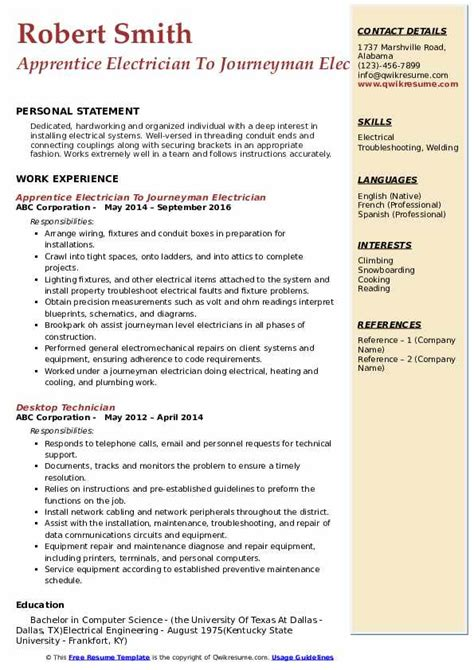 Apprentice Electrician Resume Samples Qwikresume