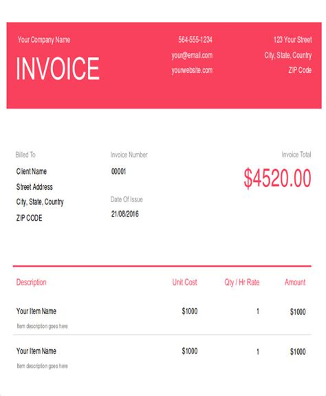 photography invoice samples  word