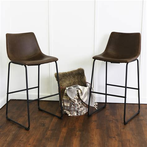 counter stools leather wasatch faux leather bar stools set of 2 brown by 2678