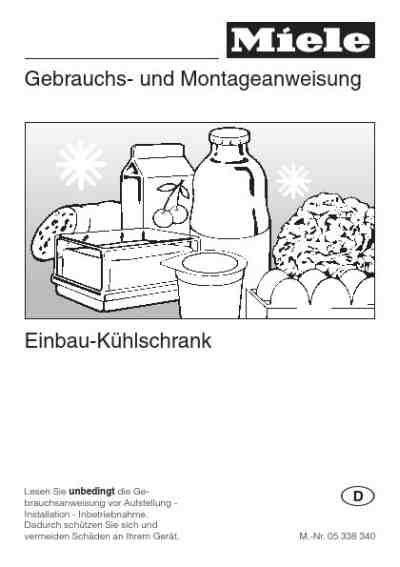 Kühlschrank Zum Einbauen by Miele K 521 Ik 195 188 Hlschrank Deutsche Bedienungsanleitung