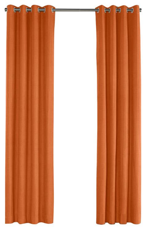 burnt orange linen grommet curtain contemporary