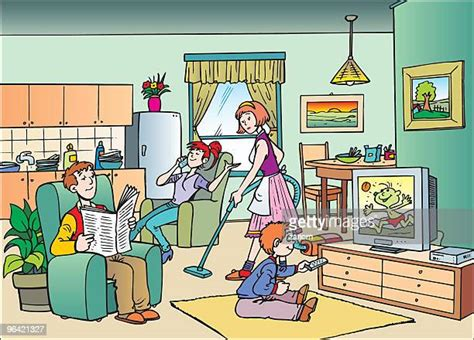 watching tv high res illustrations getty images