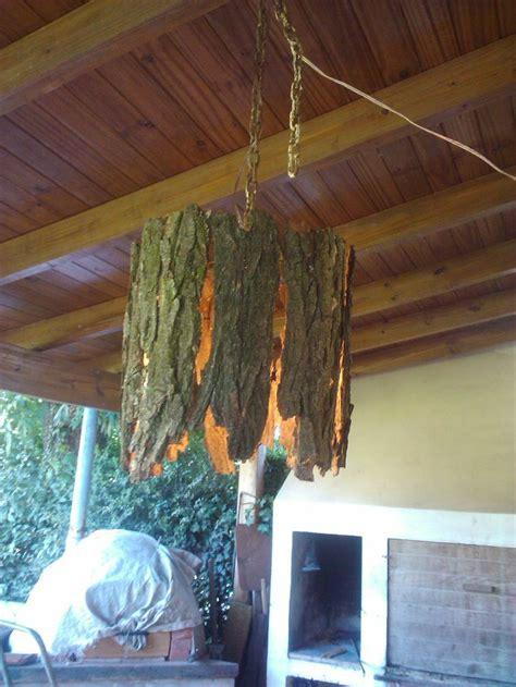 lampara de corteza de arbol lampara madera manualidades