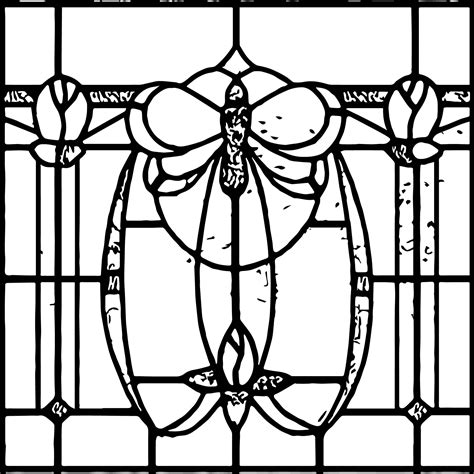 Art Nouveau Stained Glass Coloring Page Wecoloringpagecom