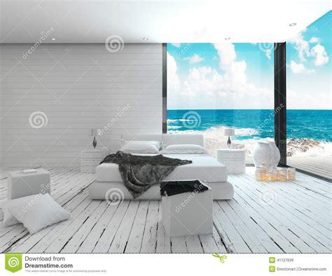 chambre arbitrale maritime de intérieur blanc de chambre à coucher dans une vue maritime