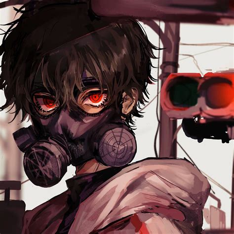 Anime Gas Mask Red Eye 4k 3840x2160 33 Wallpaper