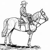 Cowboy Coloring Pages Printable Horse Cowboys Western Cowgirl Drawings Clip sketch template
