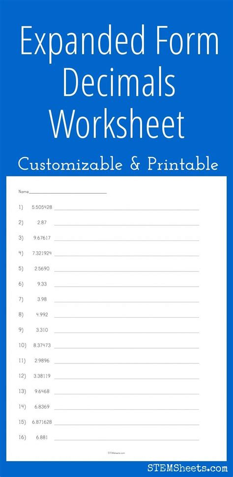 expanded form decimals worksheet craftsmanship expanded