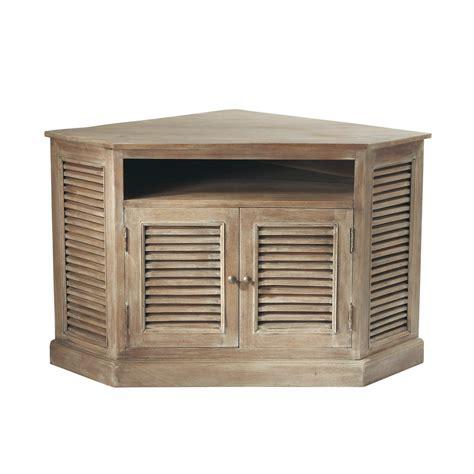meuble rangement chambre fille meuble tv d 39 angle en manguier grisé l 75 cm persiennes