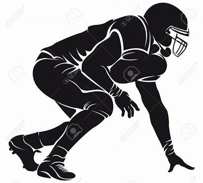 Football Player American Clipart Silhouette Lineman Clipartion