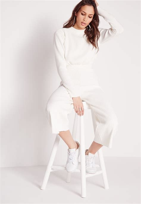 white sleeve jumpsuit missguided sleeve ribbed culotte jumpsuit white in