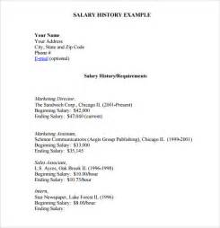 salary history in resume exle salary history template 6 free documents in pdf word