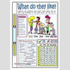 What Do They Like?  Hobbies  Free Esl Worksheets  Repinned By Chesapeake College Adult Ed We
