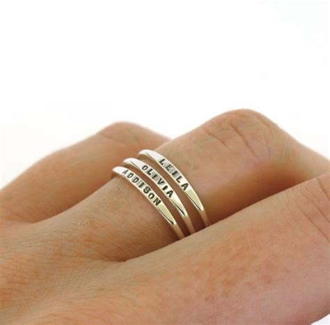 Stackable Name Ring dainty name ring personalized ring with