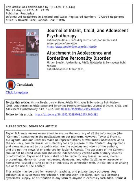 attachment  adolescence  borderline personality