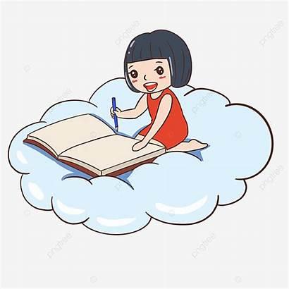 Cloud Reading Child Fille Dessin Clipart Cartoon