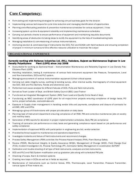 resume instrumentation engineer 7 5 year experience