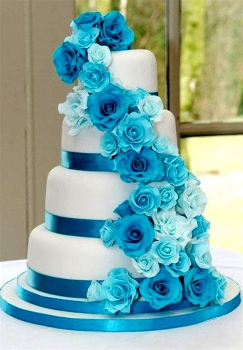 Beautiful Wedding Cake I Like The Blue But Gonna Try It