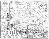Starry Gogh Vincent Coloring Sketch Printable sketch template