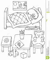 Sleeping Boy Colouring Bed Coloring Sketch Preschool Printablecolouringpages Larger Credit sketch template