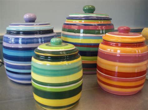 piece striped kitchen canister set  inaglaze  etsy