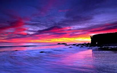 Ocean Sea Wallpapers Sky Desktop Purple Sunset