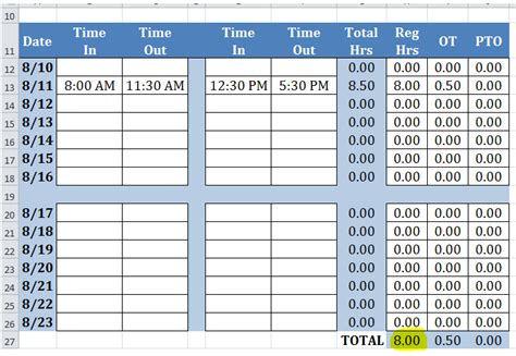 timecard hours time card excel template free time sheets excel