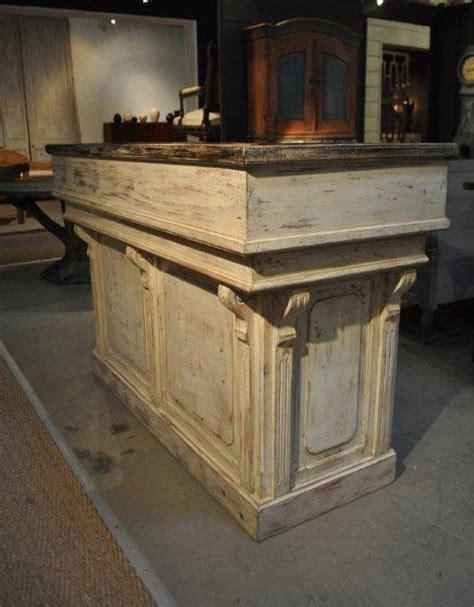 distressed white antique repro counter barreception desk